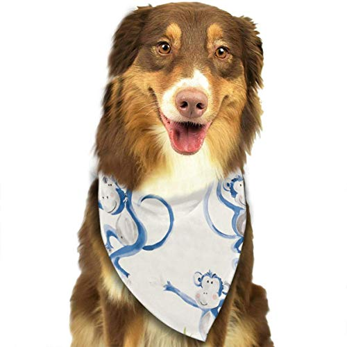 Sdltkhy Watercolor Blue Monkey Pet Dog Cat Bandanas Triangle Bibs Pet Scarf Dog Neckerchief Headkerchief Pet Accessories (Monkey Blue Kostüm)