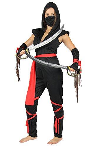 (Foxxeo Sexy Ninja Kämpferin Damen Kostüm schwarzes der Damen Ninjakostüm Kämpferin Liga Assassin Gr. SX-M, Größe:L)
