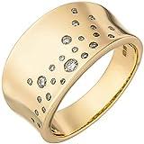 Ring Damenring mit 25 Diamanten Brillanten, breit gewölbt, 585 Gold Gelbgold, Ringgröße:Innenumfang 58mm ~ Ø18.5mm