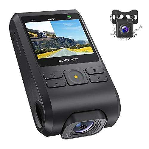 APEMAN Dash Cam Front and Rear Car Camera, Support GPS, 1080P Full HD Dual Lens with 170° Wide Angle, G-sensor, WDR, Night Vision, Motion Detection, Parking Monitoring