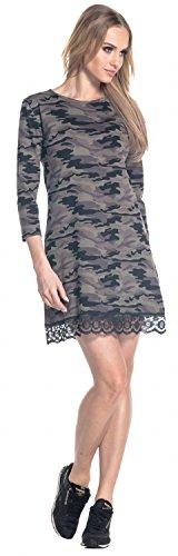 Glamour Empire. Femme Robe Droite Camo Imprimé Manche 3/4 Ourlet Dentelle. 210 Camoufler