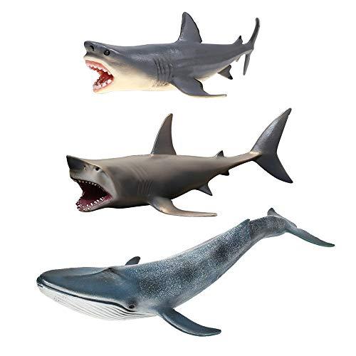 Paquete 3 Adornos acuarios tiburones Megalodon, decoraciones