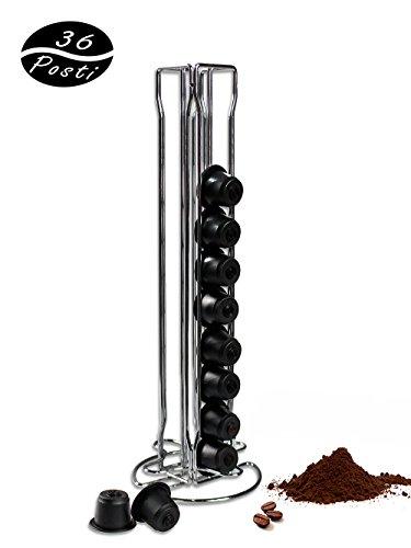 Vetrineinrete® porta capsule dispenser verticale contenitore stand per 36 capsule di caffè nespresso in metallo f43