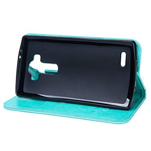 """LG V10 Ledertasche Hülle,EVERGREENBUYING - Blumenmuster Handyhülle H968 / H962 Aufklappbare Leder Schutzhülle im Flip Etui Cover Style Für LG V10 5.7"""" Schwarz Blau"""