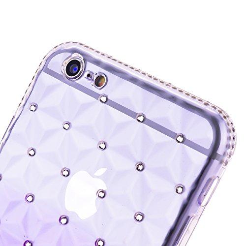 TPU Etui pour iPhone SE / 5 / 5S, HB-Int 4 en 1 Marron Transparente Housse Coloré Coque Fashion Diamant Design Case Gel Silicone Souple Couverture Légère Slim Flexible Coque Protecteur Fonction Anti C Pourpre