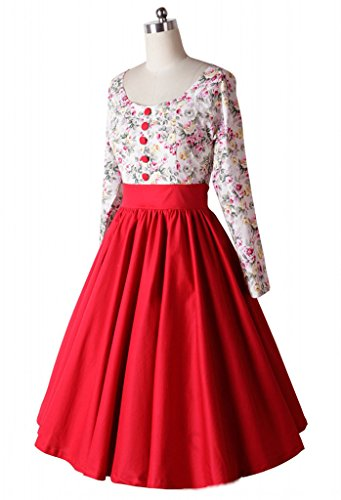 Eyekepper Robe Femme demoiselle style vintage des annees 1950 jardin des motifs floraux Rouge