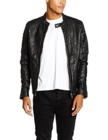 JACK & JONES VINTAGE Herren Jacke Jjvrichard Lamb Leather Jacket Noos, Schwarz (Black Fit:Slim Fit), XX-Large (Herstellergröße: