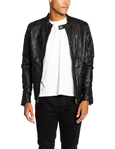 JACK & JONES VINTAGE Herren Jacke Jjvrichard Lamb Leather Jacket Noos, Schwarz (Black Fit:Slim Fit), X-Large (Herstellergröße: XL)