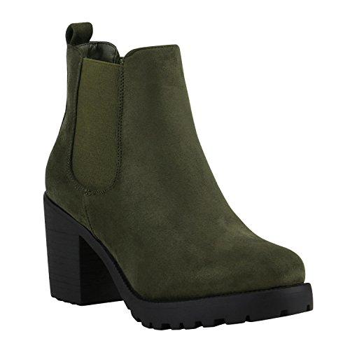 Stiefelparadies Damen Stiefeletten Chelsea Boots Wildleder-Optik Schuhe High Heel Plateau Booties Profil 142179 Dunkelgrün Schwarz 38 Flandell