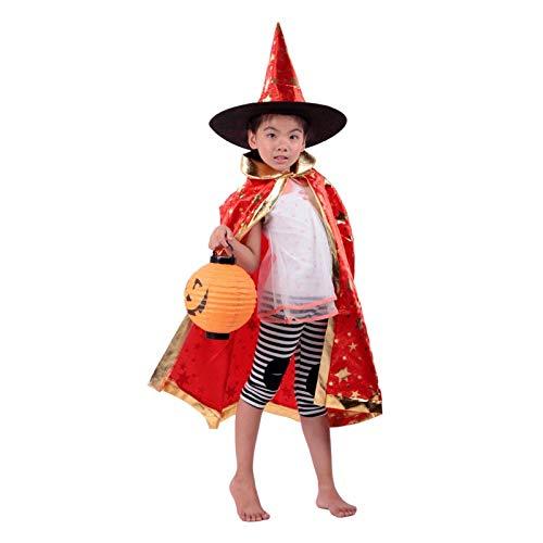 Ya1&Ya Halloween Kostüm Show Kostüm Magier Umhang Hexe Fünf-Sterne Halloween Umhang Cap Cap + Hut, rot