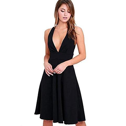 Femmes robe poche taille sans manches col en V grand pantalon jupe de mode , black , l