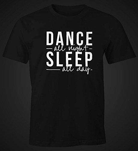 Herren T-Shirt - Dance all night sleep all day - Party Feiern Sprüche Techno Festival Moonworks® Schwarz
