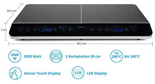 MEDION MD 15324 Doppel-Induktionskochplatte / 3500 Watt/Zwei Kochplatten / 10 Temperaturstufen/LED Display/schwarz