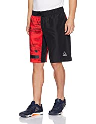 Reebok Mens Synthetic Shorts (4057286464763_BK2938_XS_Black and Primal Red)