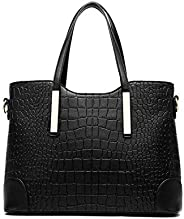 Lady women crocodile PU leather Tote handbag Fashion two pieces suit Multifunction YY20 blcak