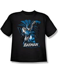 Justice League - Batman Blue & Gray Youth T-Shirt In Black