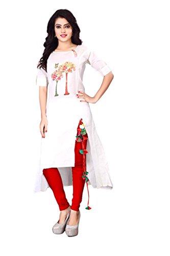 OSLC Kurti White Pure Cotton Designer Kurti (X-Large)