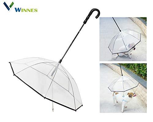 Winnes Transparenter Hundeschirm Hunde Regenschirm mit Leine PE und Edelstahl Hunde Regenjacke für Spaziergänge im Freien bei Regen Ideal für Haustier Welpen die weniger als 12 Pfund und 19 Zoll Länge