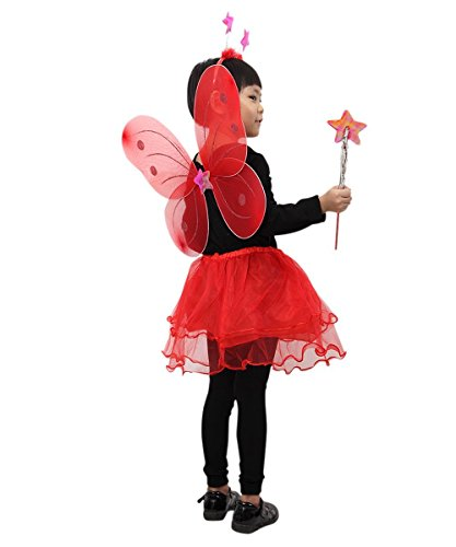 Ikumaal Marienkäfer-Kostüm, Ja07, 4 TLG. mit Flügeln, dem Rock, dem Kopf-Schmuck und dem Stab! für Klein-Kinder, Babies, Marienkäfer-Kostüme Kinder-Kostüme Fasching Karneval, Kinder-Faschingskostüme