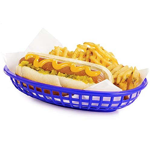 Cesta comida ovalada clásica azul 24 x 15 x 5 cm