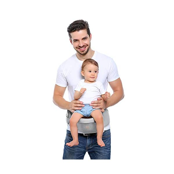 GAGAKU Baby Hip Seat Carrier Lightweight Baby Waist Carrier - Grey GAGAKU Material: 100% cotton fabric; Inner pad is made of EPP shock absorbent foam, safe and no deformation; Age Stages: Suitable for babies from 0-36 months and load bearing 0 to 44 lbs (0 - 20 KG); Slope Design: 30 degrees tilt designed Hip-seat provides proper support of baby's legs, hips and spine, and the surface covered with anti-slip treatment; 6
