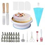 Rotatif Gâteau Platine, CESHUMD 37pcs Kit de décoration de gâteaux, avec 24...