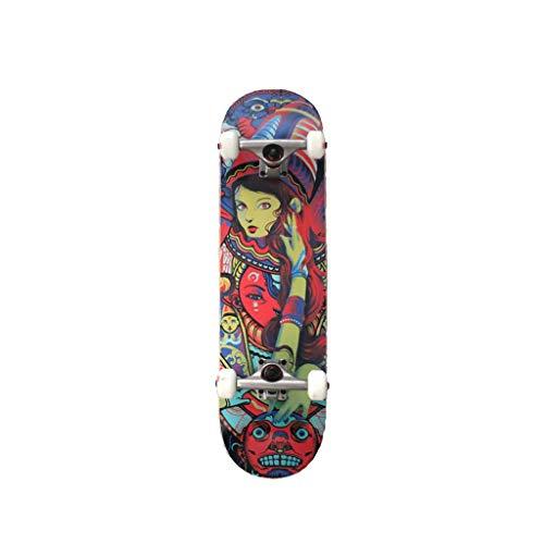 HXGL-Skateboards Pro Skateboard Komplettes 31,5 Zoll 7-lagiges Kanadisches Double Kick Concave Deck Skateboard Aus Ahorn (Color : Multi-Colored) (Kanadische Ahorn-skateboard-deck)