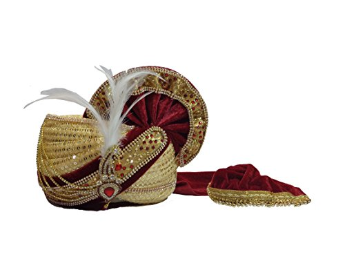 wedding safa/turban/pagdi for men maroon color Velvet With Cream Sitara Net Fabric...