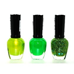 1+Eye+Products Green Addiction 3 Piece Color Nail Lacquer Combo Set -Neon Melon Glitter Green by Kleancolor