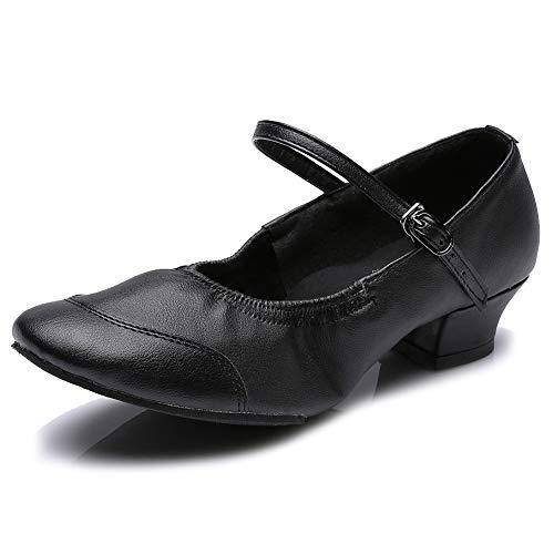 Hipposeus scarpe da ballo da donna pratica scarpe da ballo pelle con tacco 3.5cm (1,37 pollici) suola in gomma,itq801,nero,eu 38