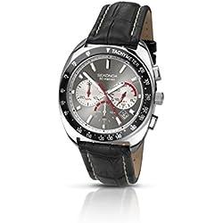 Sekonda Men's Quartz Watch with Grey Dial Chronograph Display and Black Leather Strap 3509.71