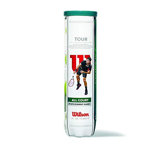 Balles de Tennis Wilson, Tour All Court, Boîte de 4, pour tous les Revêtements, Jaune, WRT115700