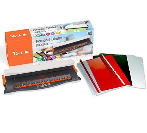 Peach PB200-09 Plastikbindegerät | Personal Binder DIN-A4 |  bindet 50 Blatt | max. 12 mm Binderücken | 4 Blatt Stanzkapazität | inkl. 20-teiligem Starterset