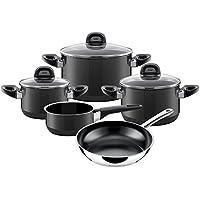 Silit Topf-Set 5-teilig, Modesto Fleischtopf Stielkasserolle, Stielpfanne Grey Schüttrand, Glasdeckel Silargan Funktionskeramik induktionsgeeignet, spülmaschinengeeignet