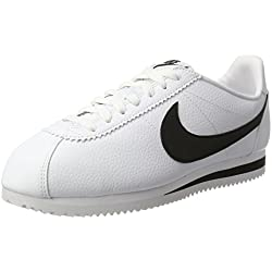 Nike Classic Cortez Leather, Zapatillas de Running Hombre, Blanco / Negro (White / Black), 42