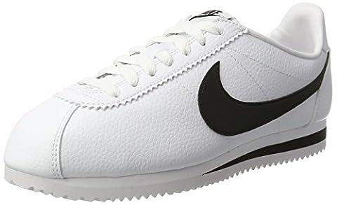 Nike Classic Cortez Leather, Chaussures de Running Entrainement Homme, Blanc, 45 EU, Blanc (White/black), 43 EU