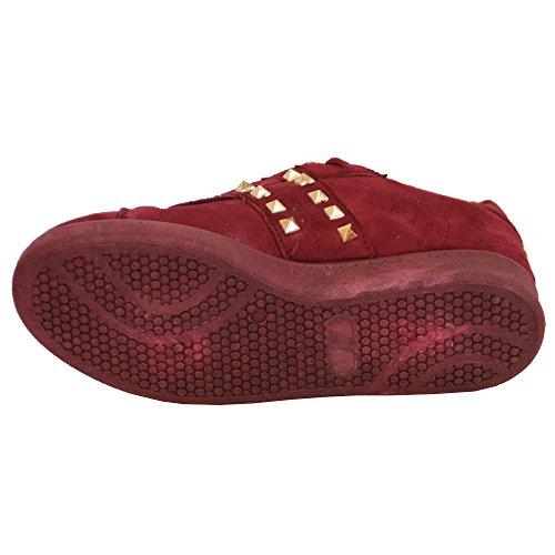 Donna Camoscio LOOK Basse Scarpe sportive donna Décolleté con lacci borchie scarpe moda casual VINO - am966