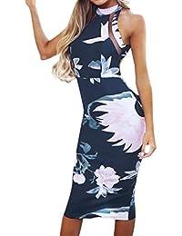 LMMET Vestito Donna Elegante Cerimonia da Sera Aderente Vestiti Donna  Aderenti Sexy Ufficio Abito Donna Floreale 31a6bf3fa32