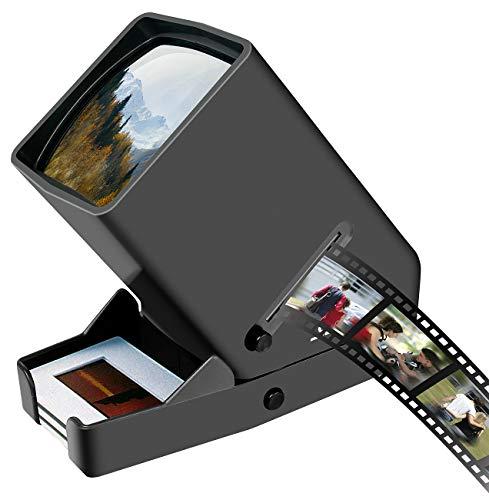 Somikon Diabetrachter: Mobiler Dia- & Negativ-Betrachter mit LED-Beleuchtung, 3X Vergrößerung (Dias-Betrachter)