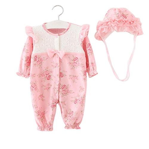 Neugeborene Baby Kleidung,Honestyi Neugeborenen Mädchen Säuglings Mütze + Spielanzug Body Playsuit Clothing Set Winter Warm Outfits Niedlich Lange Ärmel Kapuzenpullover (Rosa, ()