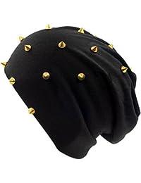 LOCOMO Unisex Beanie Hat Skullcap Tuque Spike Stud Rivet Plain Color FFH394BEI