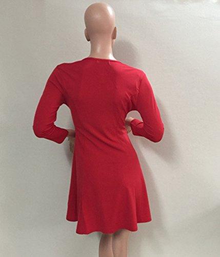 WanYang Damen Reißverschluss Kleid V Ausschnitt Langärmelig Kleid Taille Hochkragen Schlanke Geschnittenes Mit V Ausschnitt Rot
