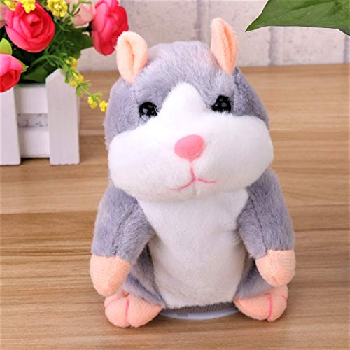 Tdas Talking Hamster Plush Toy Mimicry Doll pet Mouse Electronic Educational Soft Toys, Record Sound for Kids Baby Children Girls Boys (Grey Hamster)
