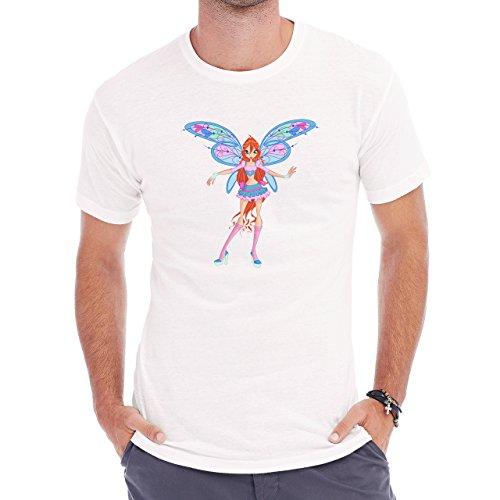 Winx Club Bloom Wings Standing Blue Pink Herren T-Shirt Weiß