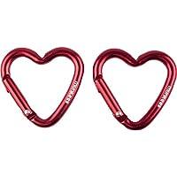 Munkees Mosquetón Corazón Forma de Corazón Llavero Mosquetón Multiusos Aluminio Rojo, rojo