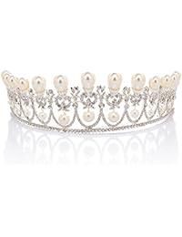 Remedios Boda regia corona de la reina de la tiara del desfile de de baile diadema joyería del pelo con la perla y del Rhinestone