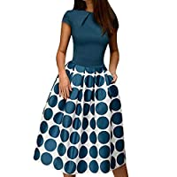 Vamoro A-Line Women Elegant Casual Holiday Wave Point Pocket Sashes Knee-Length Splice Casual Dress(Blue,UK-16/CN-2XL)