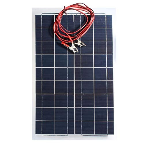 WOSOSYEYO 30W 12V Flexible Solar Panel mit Krokodilklemmen Kabel Tragbare High Efficiency Solar-Panel für RV Boot Light (schwarz) -