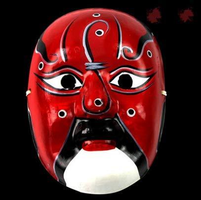 HLJZK Handbemalte Gipszellstoffmaske im chinesischen Stil Genre Sichuan-Oper Gesicht ändernde Leistung Requisiten Handwerk Peking-Oper Guan - Gon Cosplay Kostüm