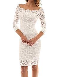 Schlank Kleid Damen, Sunday 2018 Frühling Frauen Vintage Schulterfrei  Spitze Abendkleid Langarm Kleid Frühling… 309823717d